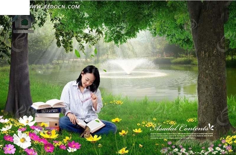 坐在树下看书的女生素材图片