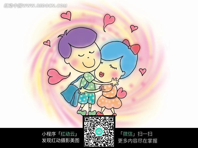 拥抱的卡通情侣