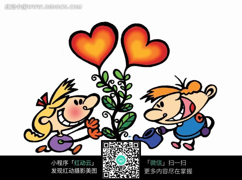 给心形花朵浇水的情侣图片图片