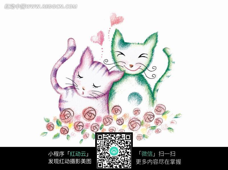 两只靠在一起的可爱小猫图片