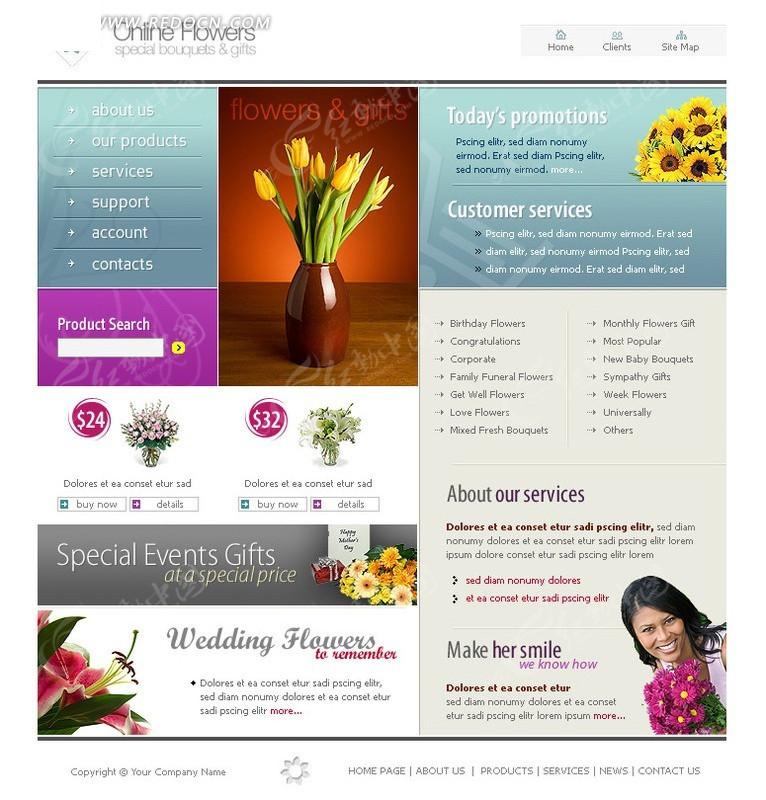 免费素材 网页模板 网页模板 欧美模板 花店网页模版  请您分享: 素材图片