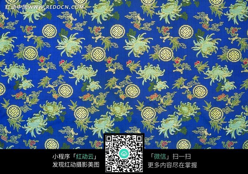 蓝底菊花 寿字纹丝绸背景图片免费下载 红动网图片
