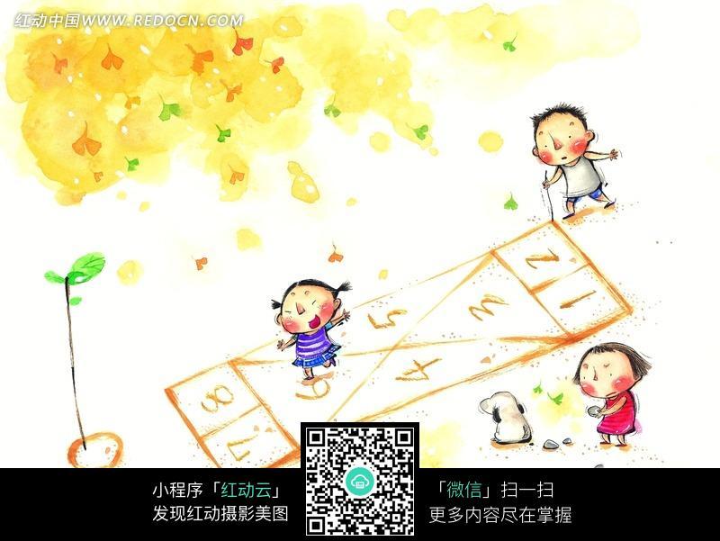 水彩画 童年 手绘插画 做游戏 跳格子 小狗 童年生活 儿童生活 童年
