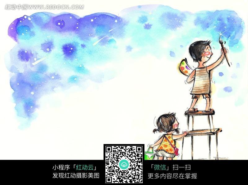 水彩画插画之儿童画壁画图片