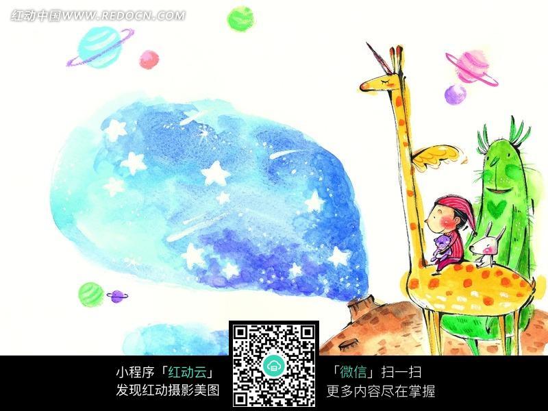 坐在长颈鹿上仰望天空的男孩图片