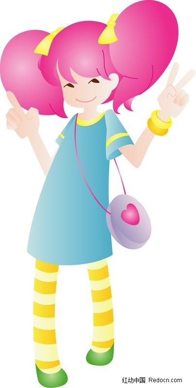 卡通 卡漫 人物 红头发 女孩 可爱 手绘插画人物 卡通人物 漫画人物