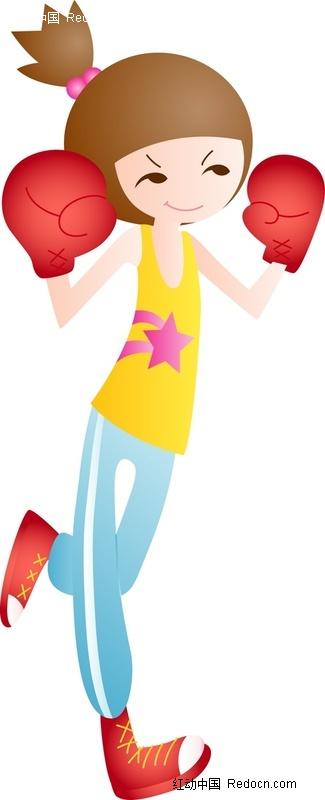 戴拳击手套跑步的卡通女孩图片