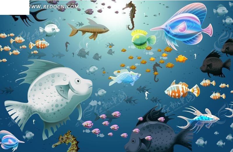 海底世界创意插画图片