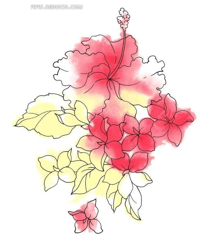手绘晕染效果线性木菊