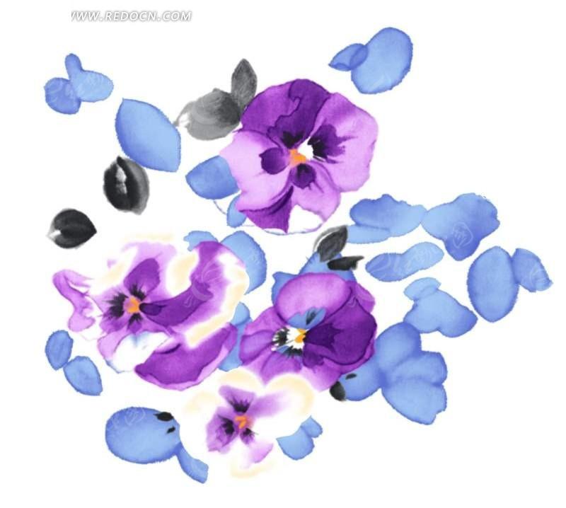 紫色手绘水彩写意蝴蝶花