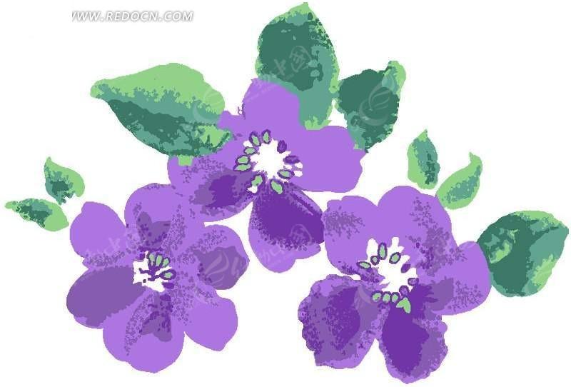 三朵手绘涂鸦紫色花与叶子