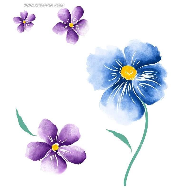 手绘蓝色四瓣花与紫色五瓣花