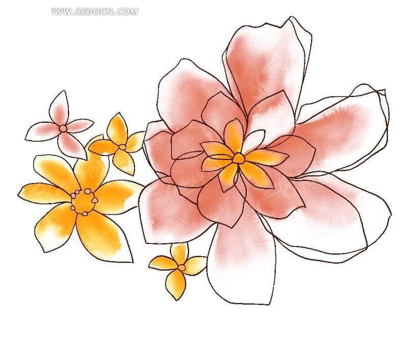 简单手绘线条花朵花纹psd素材免费下载(编号608757)