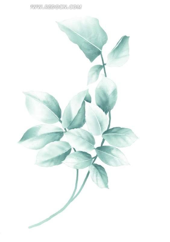 免费素材 psd素材 psd花纹边框 花纹花边 > 手绘蓝绿色叶子  免费下载