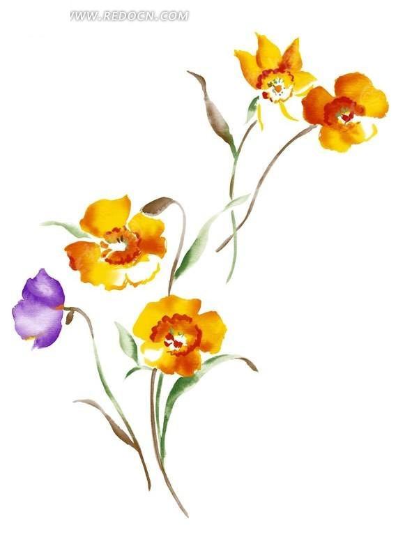 简单素雅的手绘花朵图案素材