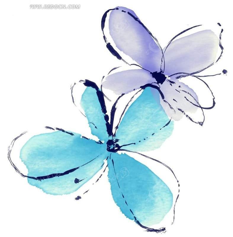 手绘蓝色蝴蝶花水彩画素材