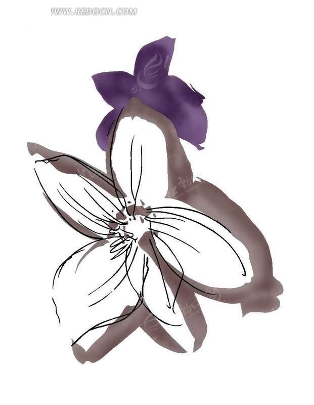 手绘抽象涂鸦花朵