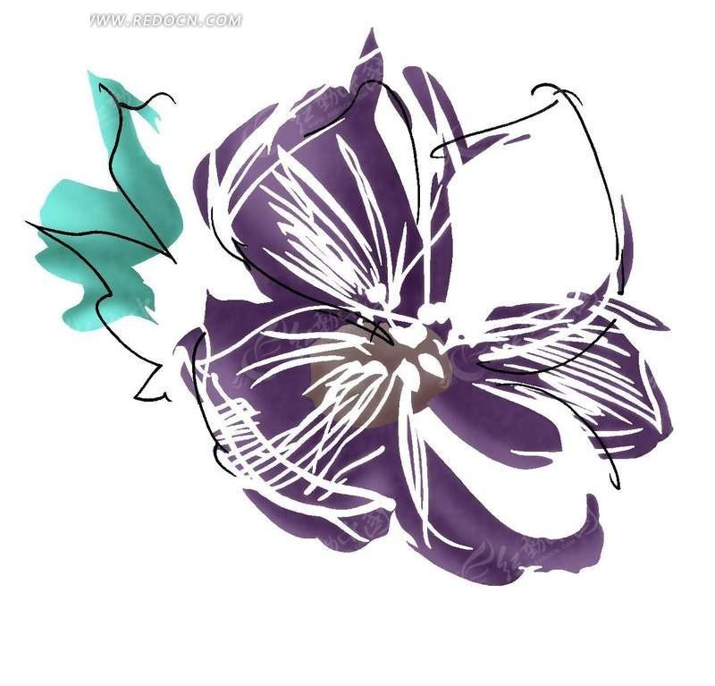 手绘抽象涂鸦花朵与叶子