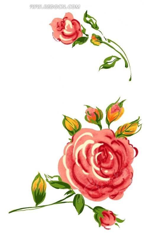 手绘红玫瑰与花蕾psd免费下载_花纹花边素材