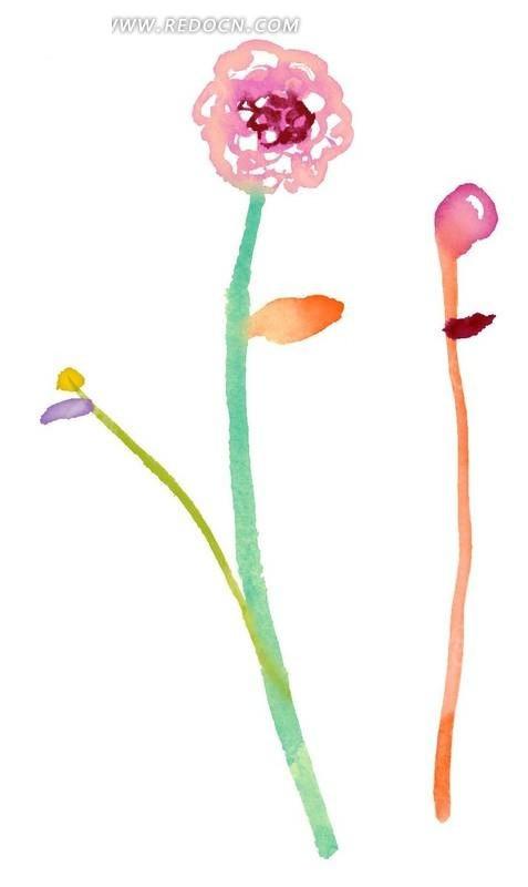 手绘水彩效果抽象花朵