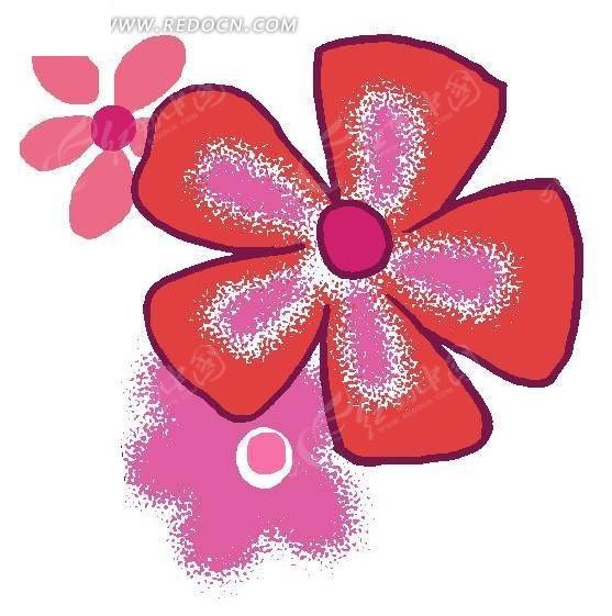 手绘红色五瓣花