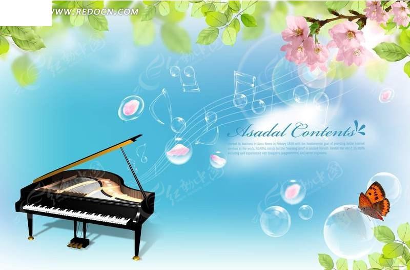 春天 钢琴的旋律背景图