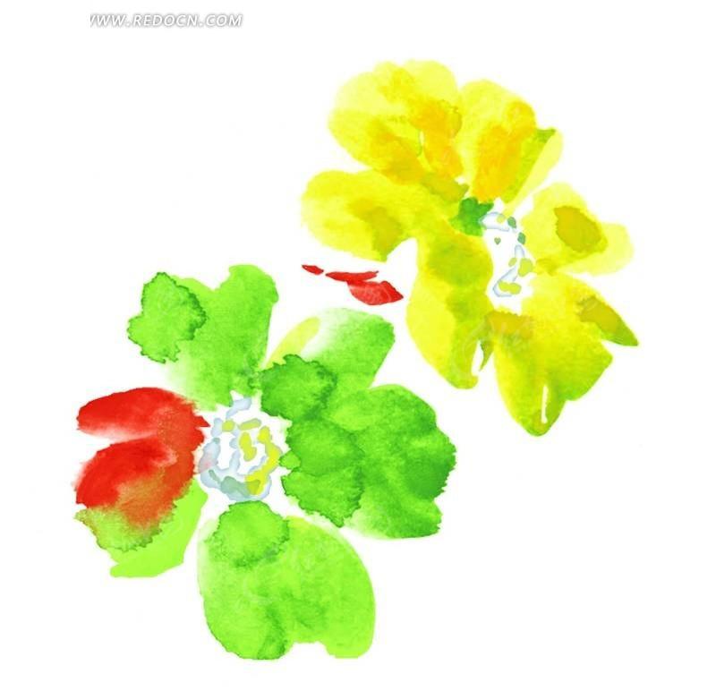 手绘抽象水彩花