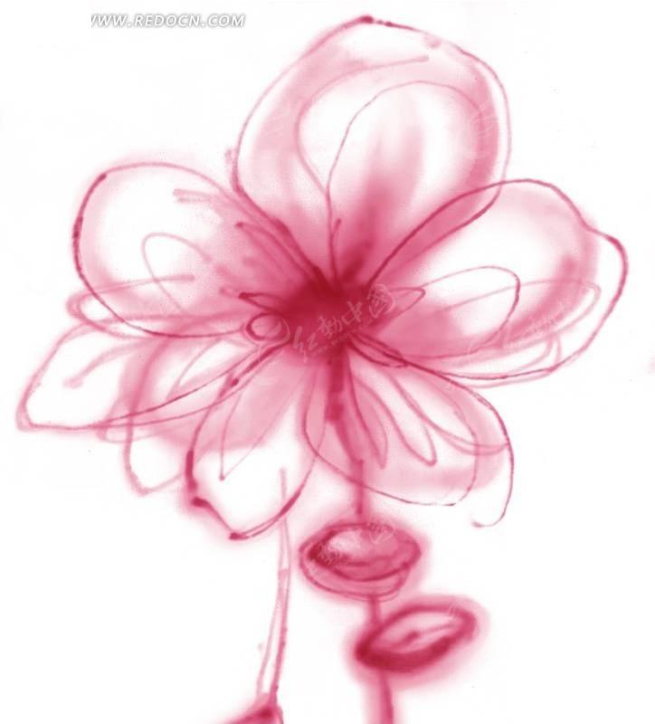 手绘涂鸦粉色抽象花朵
