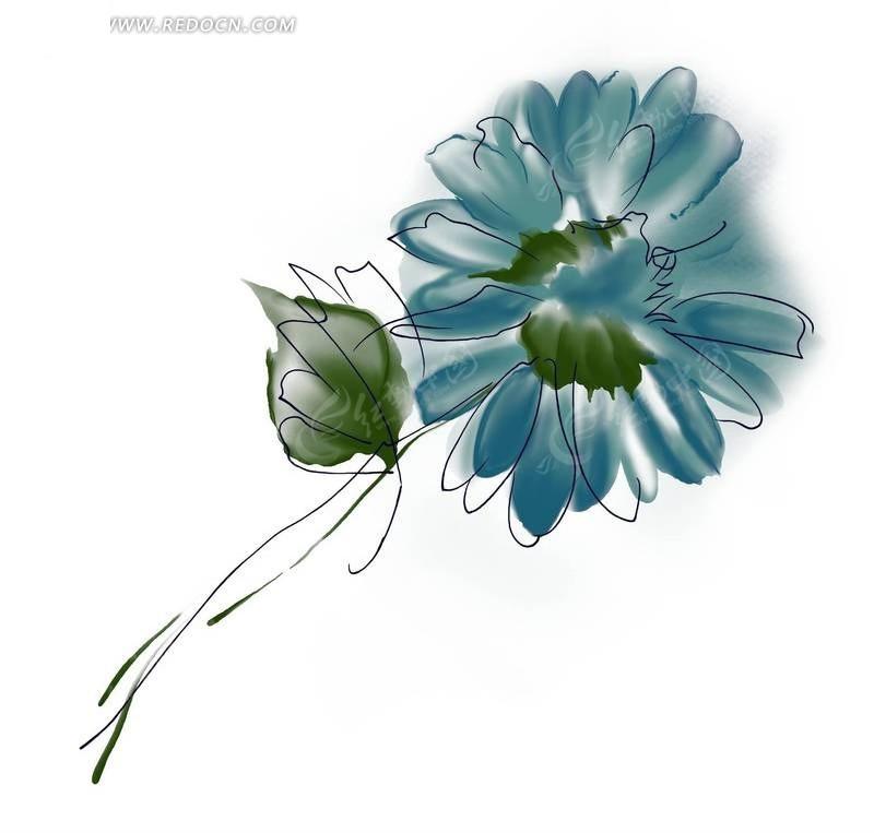 手绘蓝色抽象花