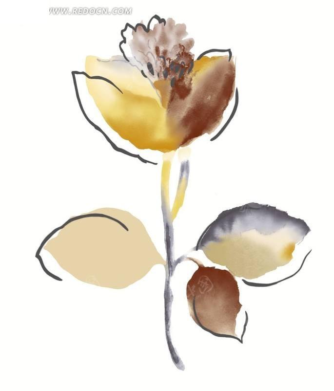 手绘水粉花朵插画素材