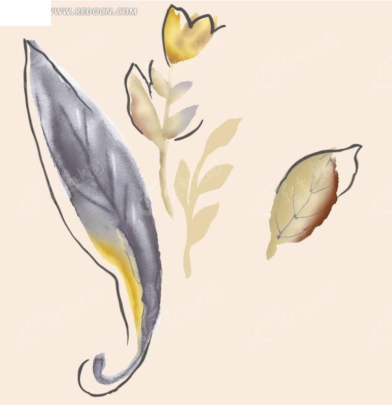 手绘植物叶子插画素材