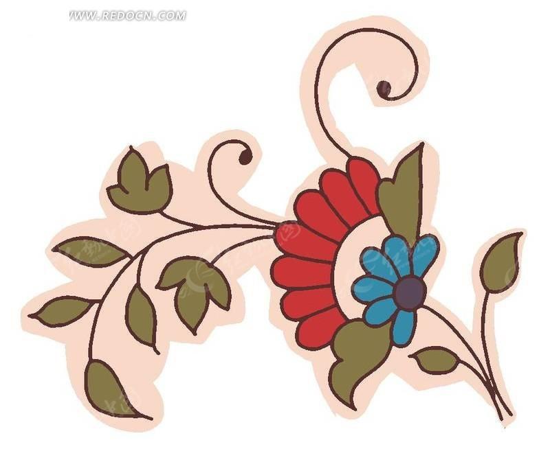 手绘红色图案花与叶子