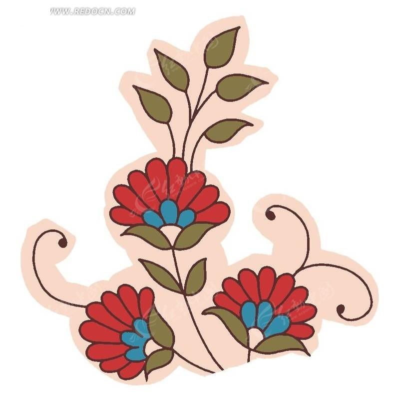 手绘红色图案花与叶子_花纹花边