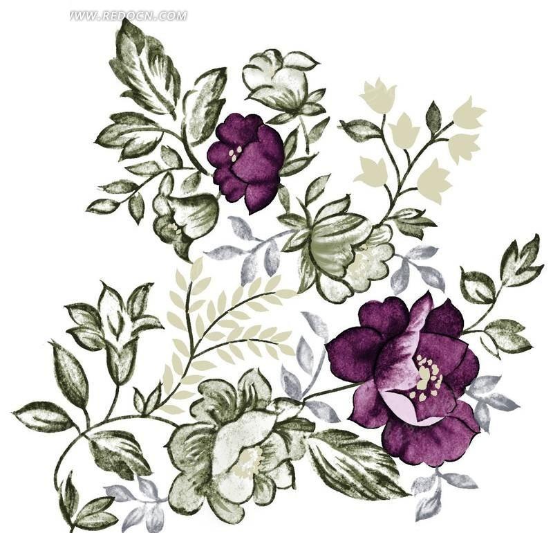 手绘紫红色山茶花与灰色叶子图片图片