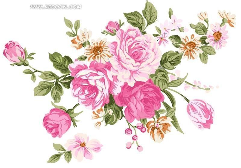 手绘粉色玫瑰花与花蕾叶子