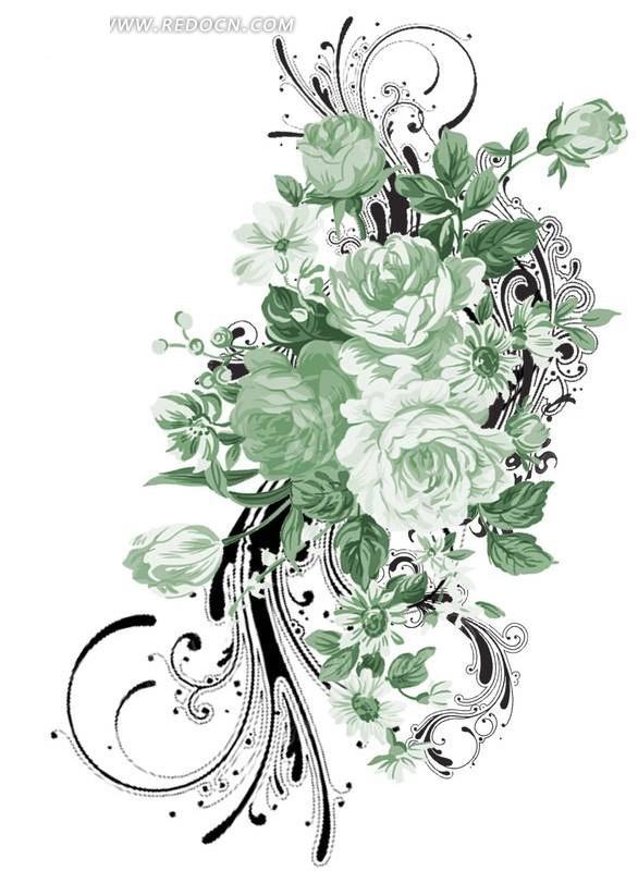 手绘粉绿色玫瑰花与花纹图案素材