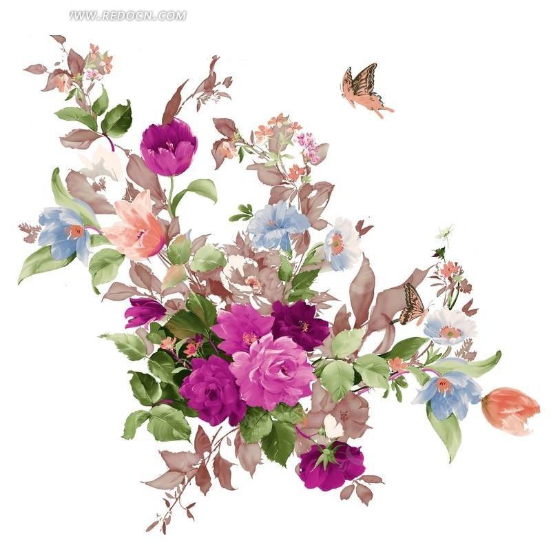 手绘玫瑰花花束与蝴蝶