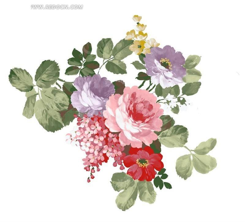 手绘玫瑰花花束与叶子