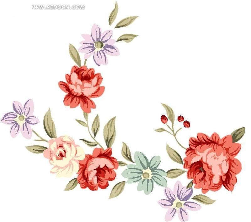 手绘红色玫瑰花与花蕾叶子