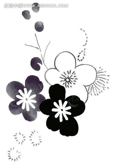 手绘黑白灰五瓣花