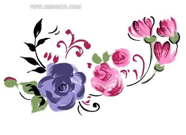 紫色手绘花与粉红色花蕾