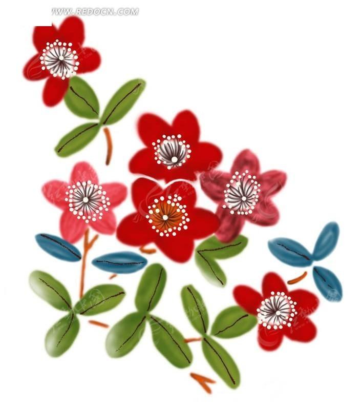 简单红花绿叶手绘图案花
