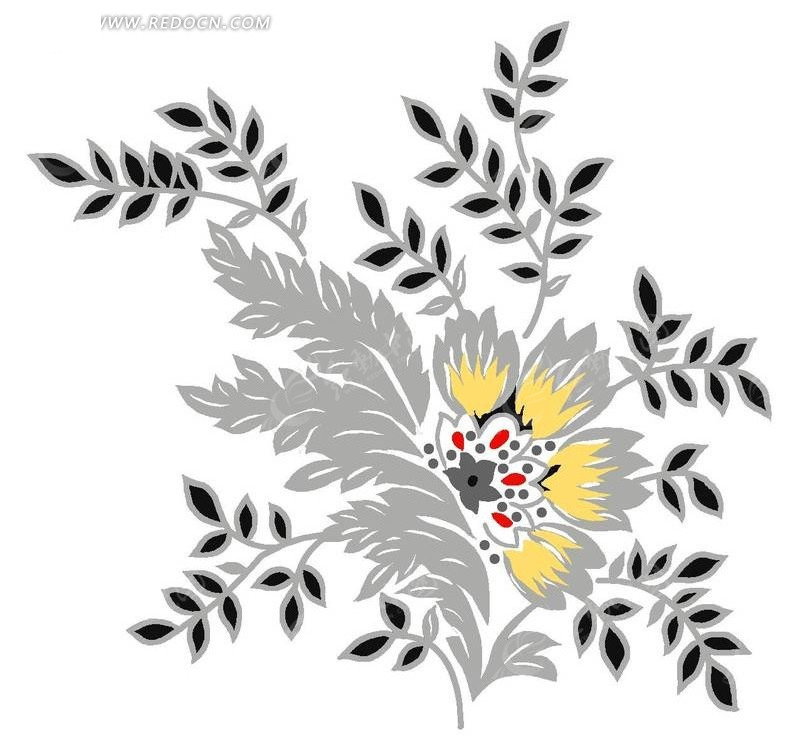 手绘盛开的花草叶子插画素材