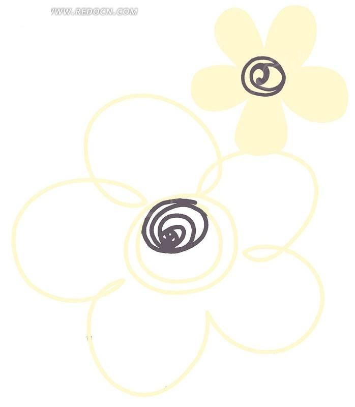 手绘黄色图案五瓣花与叶子_花纹花边