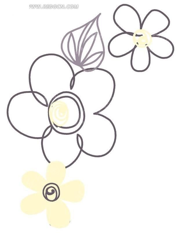 手绘图案五瓣花与叶子