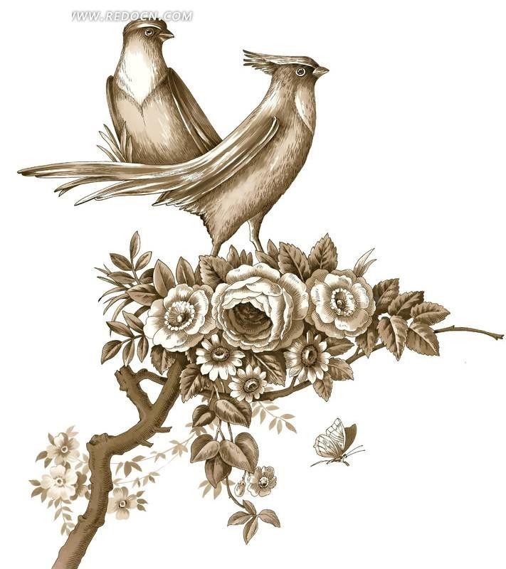 驻立在牡丹花上的画眉鸟