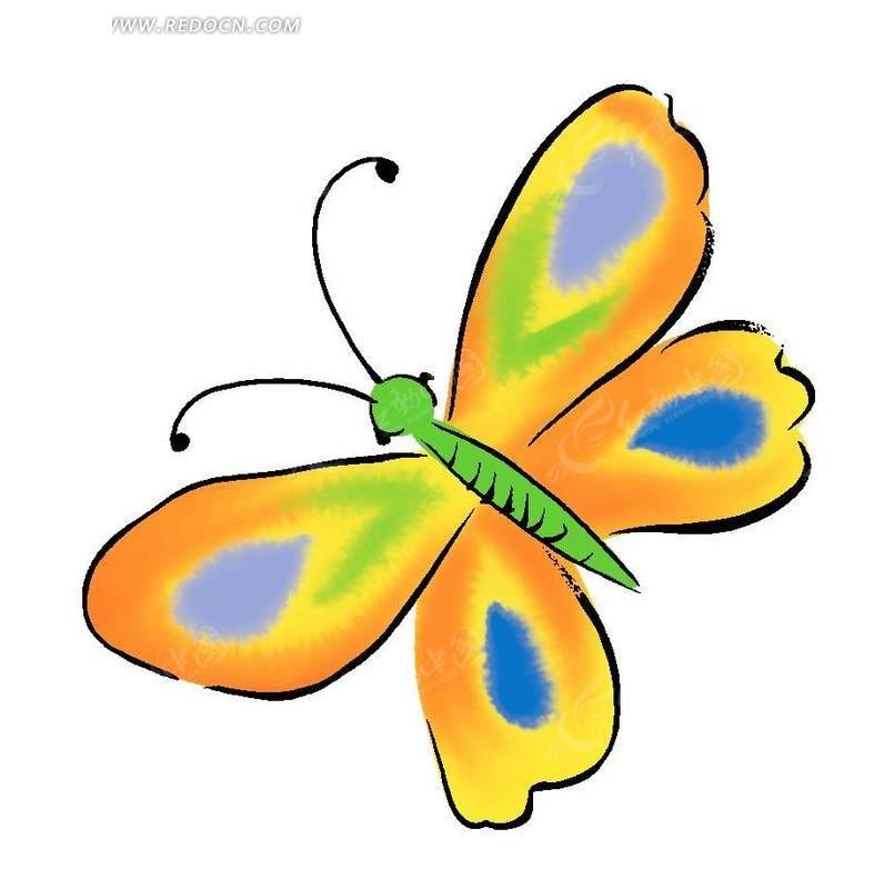 手绘色花蝴蝶
