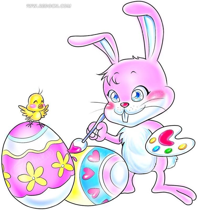 卡通图片拿着画笔画彩蛋的兔子PSD免费下载 生活百科素材