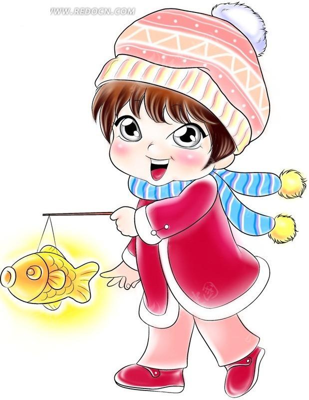 卡通人物造型提着鱼型灯笼的女孩