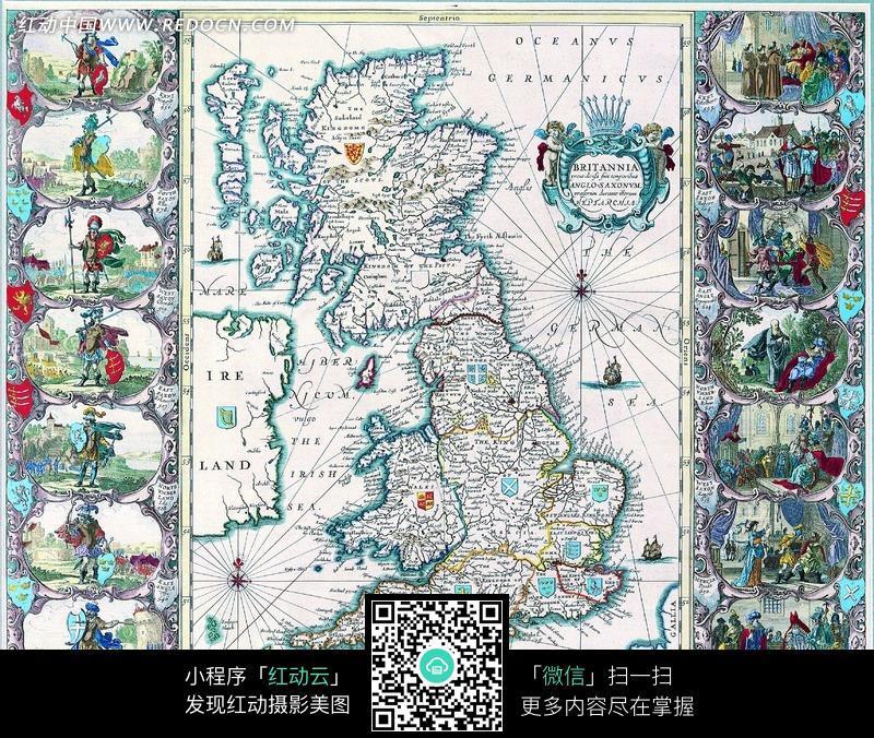 怀旧 欧式风格 古典 古代 手绘 地图 航海图 古代战士 贵族人物 古代